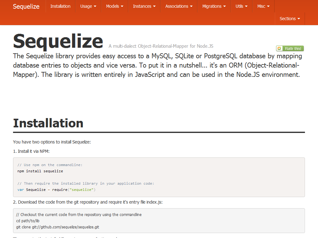 Sequelize is an easy-to-use multi sql dialect object-relationship
